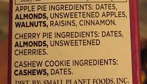 Lara Bar Box Ingredients