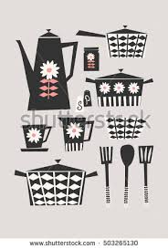 Mid Century Style Illustration Of A Set Kitchen Items In Black Pastel Pink