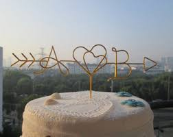 Arrow Cake Topper Two Hearts Initials Rustic Wedding Toppers