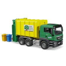 Man TGS Garbage Recycling Truck Green & Yellow - Vehicle Toy By ...
