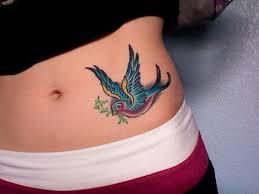 Colorful Dove Hip Tattoo