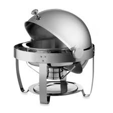 TramontinaR 6 Quart Round Stainless Steel Chafing Dish With Roll Top Lid