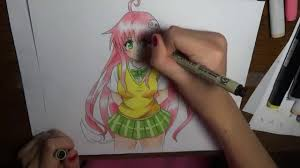 Speed Drawing How To Color Anime Girl