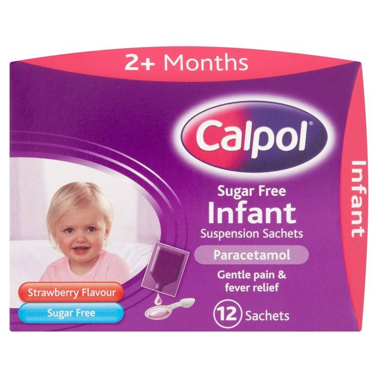 Calpol Sugar Free Infant Suspension Sachets Strawberry Flavour 2+ Months