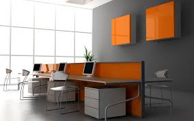 fice Stylish fice Design Ideas In Cool Grey And Orange