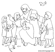 Jesus Christ With Children Coloring Pages
