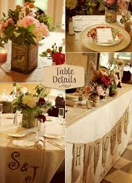 Vintage Table Decorations With Shabby Chic Details For The Reception Area