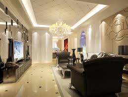 Decorative Gypsum Ceiling Tiles For Black And White Living Room With Luxury Interior Design Using Most Expensive Crystal Chandelier