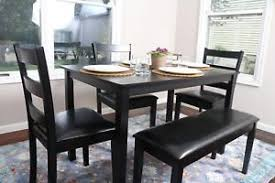 Image Is Loading 5 Piece Kitchen Dining Table Set Bench Black