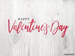Happy Valentines Day Holiday Red Calligraphy Over Rustic Whitewashed Wood Background