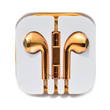 Gold Earphones for iPhone 5 5C 4S 4 iPod Nano W Mic & Remote