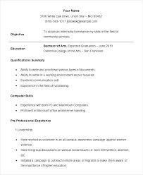 Sample Resume Internship Samples For Internships Example Student Template Free Examples Format