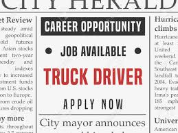 Truck Driver Career - Job Classified Ad Vector In Fake Newspaper ... Commercial Truck Driver Job Description Then Alamo Driving 7 Reasons Why Your Next Should Be With Jb Hunt Career Information Best Image Kusaboshicom An Analysis Of The Truck Driver Occupation And Transportation Carriers Working To Attract More Female Drivers Fr8star If You Wanna Apply For Lease Purchase At Crst Van Application Online Roehl Transport Jobs With Budweiser Ubers Selfdriving Company Profit Loss Statement Template Or Fast Track Of Union School Cdl Dump Making A Change Later In Life Can Trucker Earn Over 100k Uckerstraing