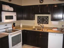Amazing Wooden Kitchen Cabinet Using Black Java Gel Stain With Granite Countertop And White Tile Backsplash Plus Stove For Decor Ideas