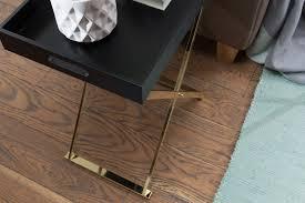 wohnling beistelltisch tv tray klappbar 48 x 61 x 34 cm schwarz gold design wohnzimmertisch mit serviertablett kaffeetisch modern