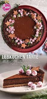 lebkuchen tarte mit fruchtfüllung und schokoladencreme