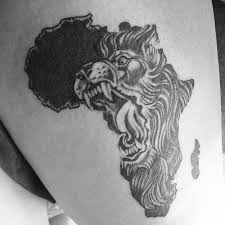Black Ink Roaring Lions Head In African Map Tattoo