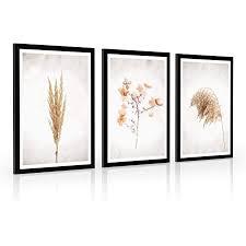 4dekor bilder wohnzimmer poster set mit rahmen pasgras 3 stück 33 x 45 cm schwarz rahmen poster vintage modern wohnzimmer schlafzimmer
