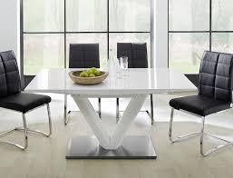 säulentisch vasco 160 220 x90x77 cm hochglanz weiß esstisch ausziehbar