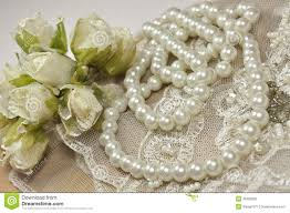 Wedding Background With Decoration Accessories Lace And Pearls