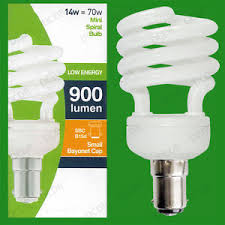 12x 14w low energy power saving cfl mini spiral light bulb sbc b15