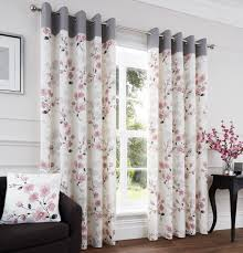 Cherry Blossom Curtain Panels by Paige Blush Ready Made Eyelet Curtains Harry Corry Limited