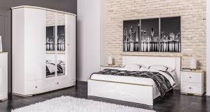 schlafzimmer set kleiderschrank bett 180x200cm nachtkonsolen weiß hochglanz