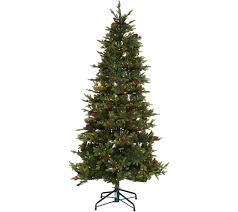 Pre Lit Flocked Christmas Tree Uk by Christmas Trees U2014 Qvc Com