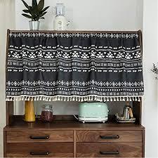 michorinee scheibengardine boho bistrogardine geometrisches muster kurze gardine blickdicht schwarz vorhänge für küche badezimmer kaffee schrank b 68