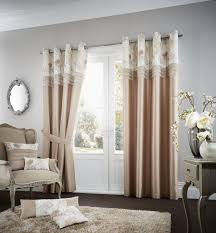 Faux Silk Eyelet Curtains by Koh Luxury Faux Silk Eyelet Curtains Latte