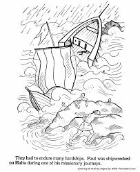 Acts Pauls Ministry To Rome Paul Is Shipwrecked Coloring Page
