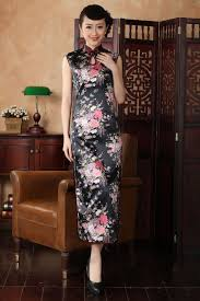 Fashion Trends Black Chinese Traditional Dress Women Silk Rayon Cheongsam Top Sexy Long Dripping Qipao Floral S M L XL XXL J5113 In Dresses From Womens