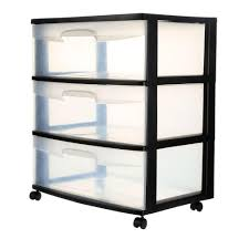 Plastic Drawers On Wheels by Sterilite 21 88 In 3 Drawer Wide Cart 1 Pack 29309001 The