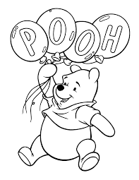 Winnie The Pooh With Balloons Coloring Pages
