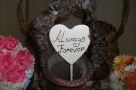 Cute Rustic Heart Cake Topper Always Forever Personalized Engraved