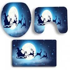 Royal Blue Bath Mat Set by Moon Santa Claus Sled Patterned 3pcs Bath Toilet Mat Set Royal In