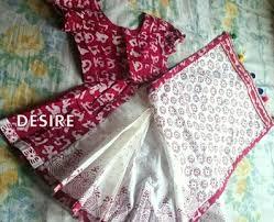 HAND WORK DRESS KIDS SAREE AND