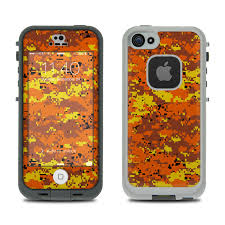 LifeProof iPhone 5S Fre Case Skin Digital Orange Camo by Camo