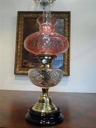 Antique Lamps Ebay Australia by Antique Primrose Opalescent Glass Font Oil Lamp Oil Lamps