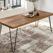 finebuy massiver esstisch harlem sheesham massiv holz esszimmertisch massivholz mit design metall beinen holztisch tisch esszimmer küchentisch