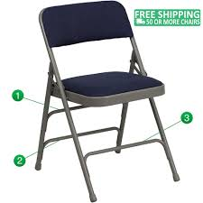 Advantage Grey Padded Metal Folding Chair - Navy Blue 1-in Fabric Seat  [HA-MC309AF-NVY-GG]