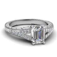 Emerald Cut Split Shank Diamond Ring