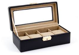 Dresser Valet Watch Box by Black Leather Four Watch Case With Glass Top And Locking Clasp
