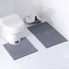 homcomodar badematten set 2 stück chenille waschbare badteppich set mit u förmig toilette badvorleger für badezimmer dunkel grau