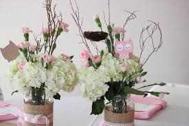 The Centrepieces Are Jars Of White And Pink Blossoms With Twigs Added For A Rustic Look Jenny Made This Darling Owl In Tan To Add An Extra Dose