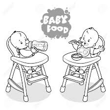 Baby drinking milk black and white clipart