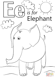 E Is For Elephant Coloring Page Letter Free Printable Pages Draw
