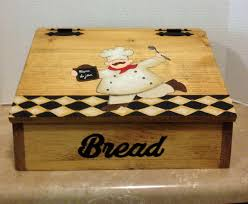 Chef Decor For Kitchen by Bread Box Wooden Bread Box Chef Decor Chef Kitchen Decor