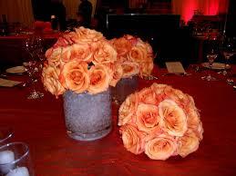 Encore Centerpieces Orange Flowers In Crystal Pebbles