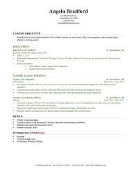 Objective Writing For Resume College Graduate Sample Of Workshop